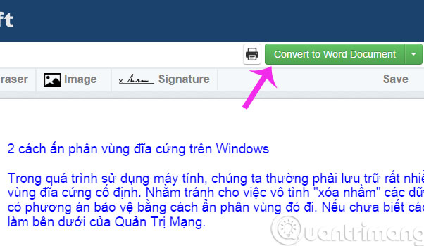 Bấm Convert to Word Document