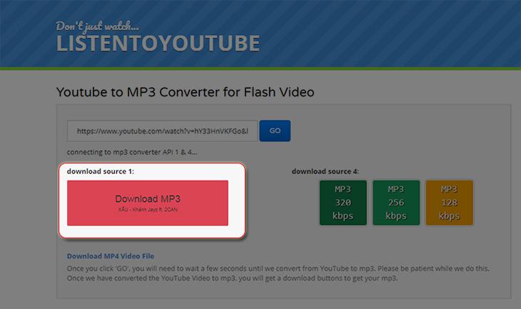 tải về file MP3 trên Youtube