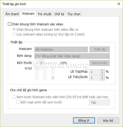 Thiết lập webcam trên Bandicam