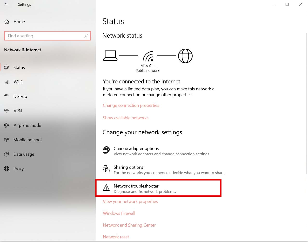 Sử dụng Windows Network Troubleshooter
