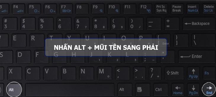 Nhấn phím Windows + Mũi tên sang phải
